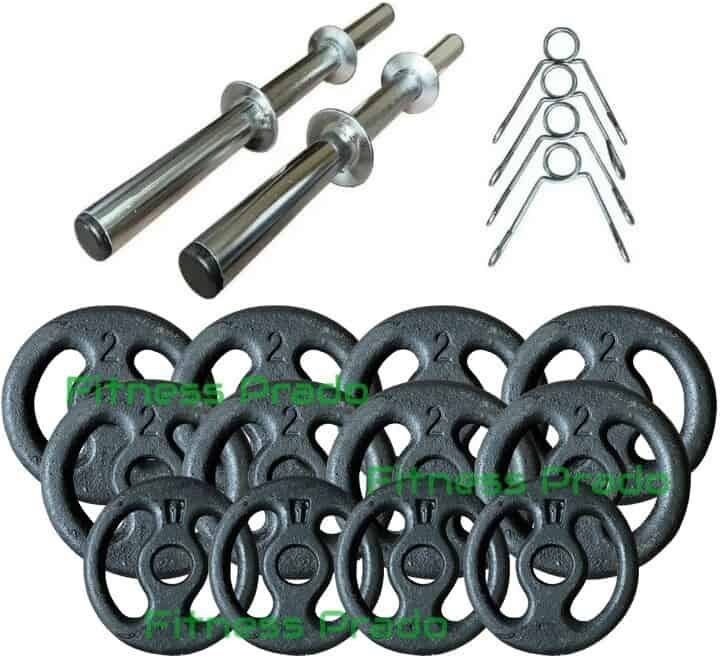 Foto 1 - Kit 2 Barras / Halteres ocas + 20kg de Pesos / Anilhas para Musculação - Novidade |Fitness Prado