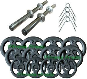 Foto1 - Kit 2 Barras / Halteres ocas + 20kg de Pesos / Anilhas para Musculação - Novidade |Fitness Prado