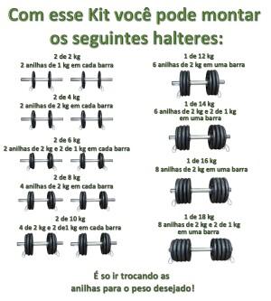 Foto3 - Kit 2 Barras / Halteres ocas + 20kg de Pesos / Anilhas para Musculação - Novidade |Fitness Prado