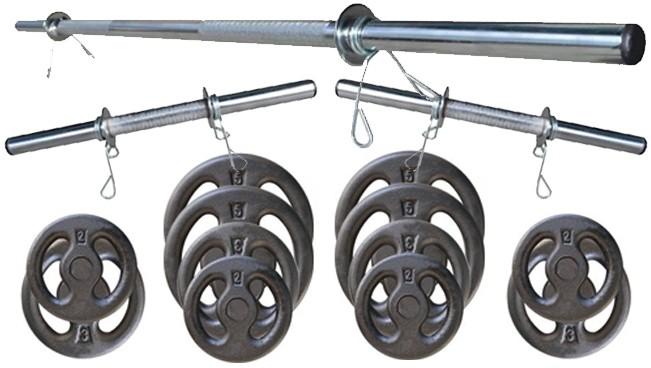 Foto7 - Kit 40Kg Anilhas + Halteres / Barras de 1,20cm e 2 de 40cm ocas Cromadas c/ Recartilho. Melhor Kit para Musculação | Fitness Prado