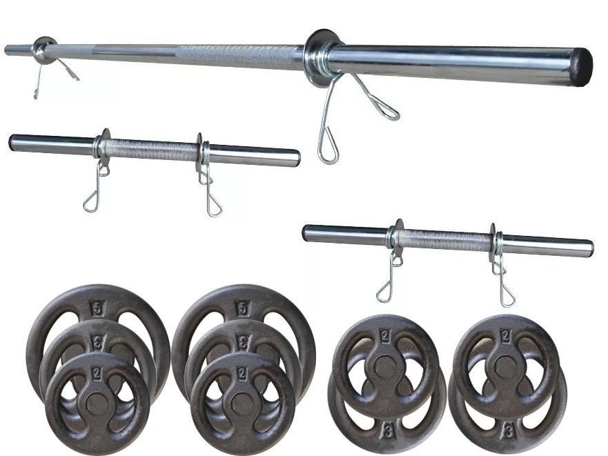Foto4 - Kit 30Kg De Anilhas + Halteres / Barras de 1,20cm e 2 de 40cm ocas Cromadas c/ Recartilho para Musculação. Menor Preço | Fitness Prado