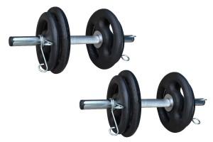 Foto7 - Kit 30Kg De Anilhas + Halteres / Barras de 1,20cm e 2 de 40cm ocas Cromadas c/ Recartilho para Musculação. Menor Preço | Fitness Prado
