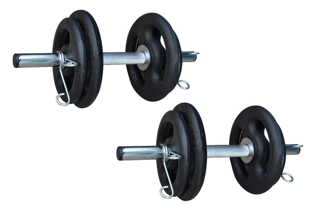 Foto4 - Kit 20Kg de Anilhas + Barras de 1,20cm e 2 de 40cm ocas Cromadas c/ Recartilho | Halteres de Qualidade. - Fitness Prado
