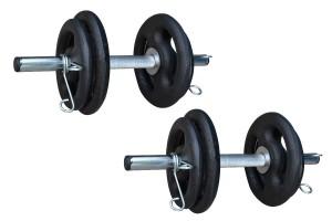 Foto4 - Kit 20Kg de Anilhas + Barras de 1,20cm e 2 de 40cm ocas Cromadas c/ Recartilho   Halteres de Qualidade. - Fitness Prado