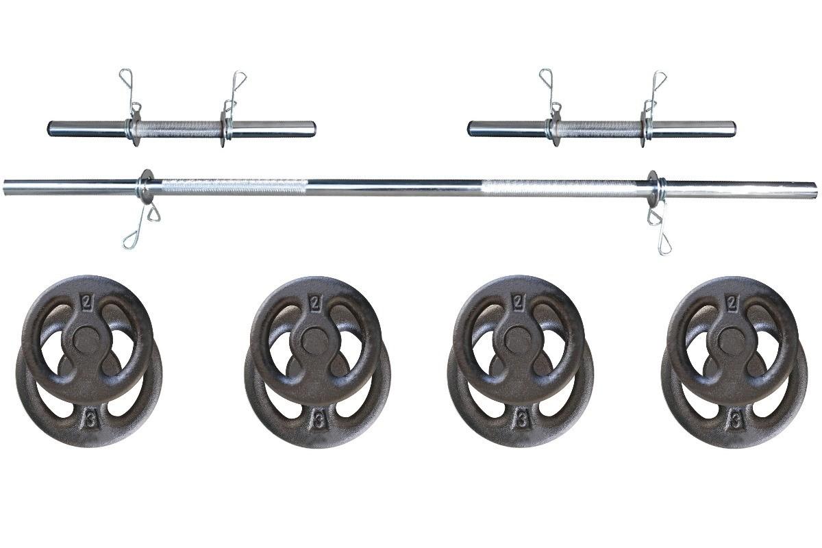 Foto 1 - Kit 20Kg de Anilhas + Barras de 1,20cm e 2 de 40cm ocas Cromadas c/ Recartilho | Halteres de Qualidade. - Fitness Prado