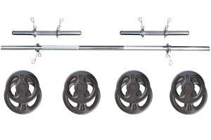 Foto1 - Kit 20Kg de Anilhas + Barras de 1,20cm e 2 de 40cm ocas Cromadas c/ Recartilho   Halteres de Qualidade. - Fitness Prado