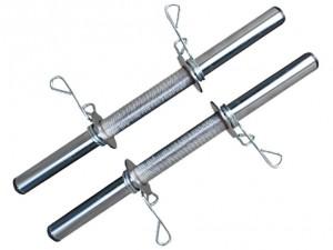 Foto5 - Kit 20Kg de Anilhas + Barras de 1,20cm e 2 de 40cm ocas Cromadas c/ Recartilho   Halteres de Qualidade. - Fitness Prado