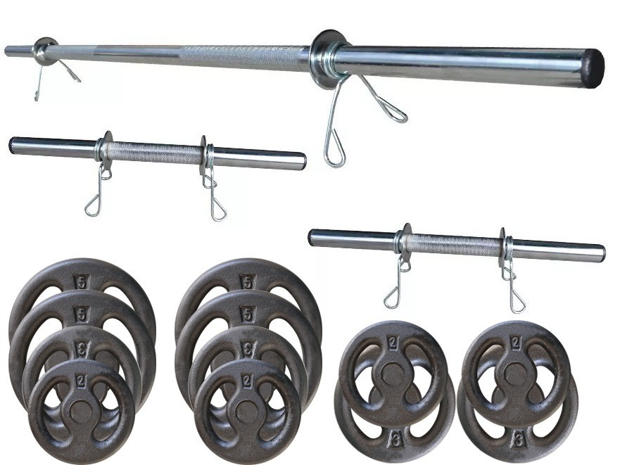 Foto 1 - Kit 40Kg Anilhas + Halteres / Barras de 1,20cm e 2 de 40cm ocas Cromadas c/ Recartilho. Melhor Kit para Musculação | Fitness Prado