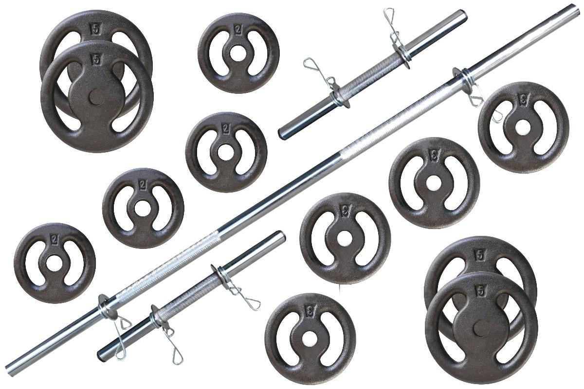 Foto6 - Kit 40Kg Anilhas + Halteres / Barras de 1,20cm e 2 de 40cm ocas Cromadas c/ Recartilho. Melhor Kit para Musculação | Fitness Prado