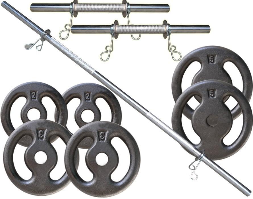 Foto 1 - Kit 20Kg de Anilhas + Barras de 1,20cm e 2 de 40cm Maciças Cromadas c/ Recartilho para Musculação. Menor Preço | Fitness Prado