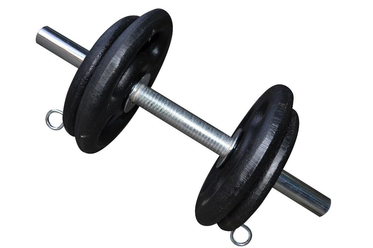 Foto4 - Kit 20Kg de Anilhas + Barras de 1,20cm e 2 de 40cm Maciças Cromadas c/ Recartilho para Musculação. Menor Preço | Fitness Prado