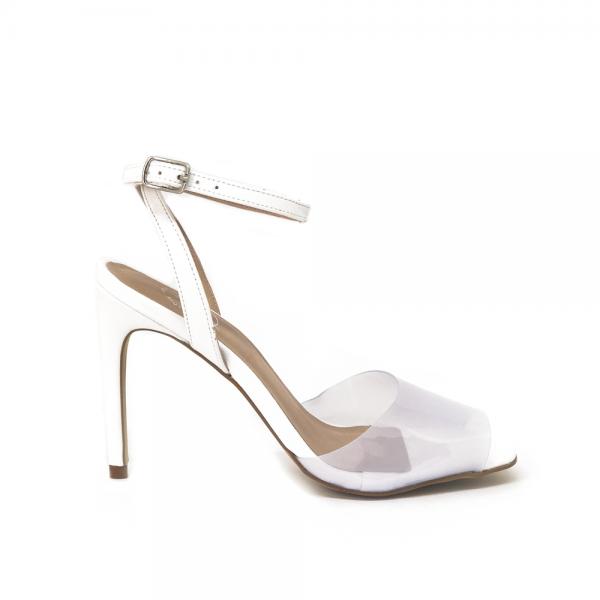 sandalia branca salto fino