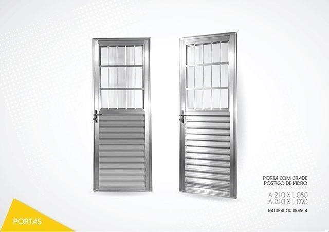 Foto3 - Porta Aluminio com Grade e Vidro