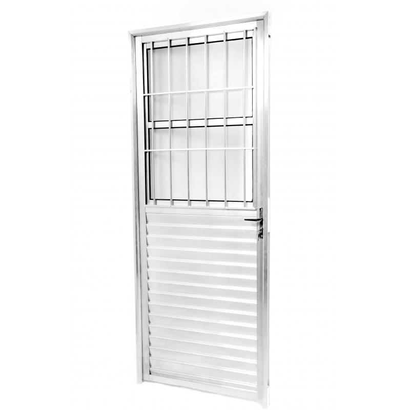 Foto 1 - Porta Aluminio com Grade e Vidro