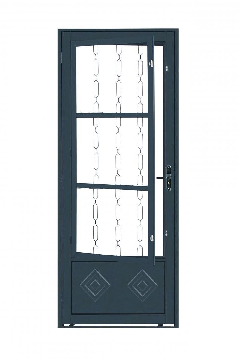 Foto2 - Porta de Aço com Postigo e Grade Elo 210x80