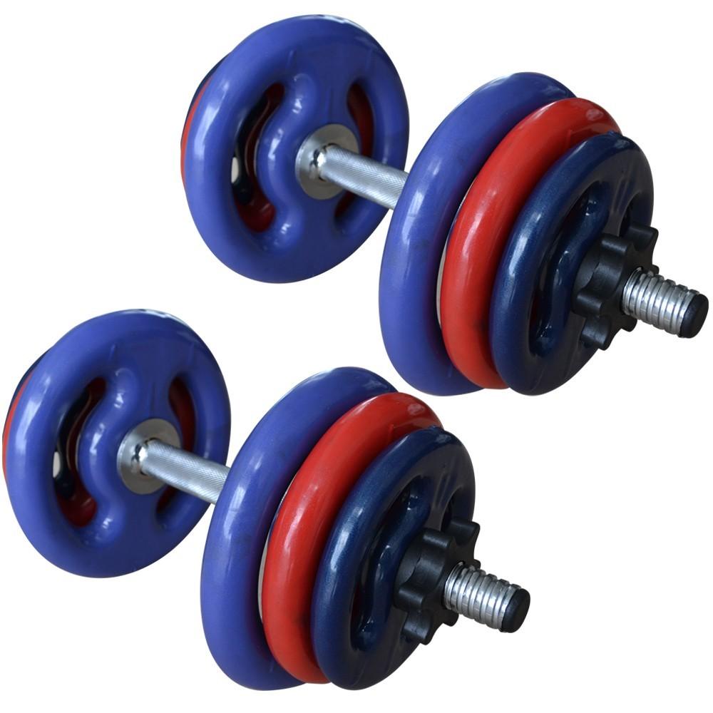 Foto2 - 2 Barras / Halteres ocas Rosca Rápida + 24kg de Pesos / Anilhas para Musculação - Novidade  Halteres e Anilhas