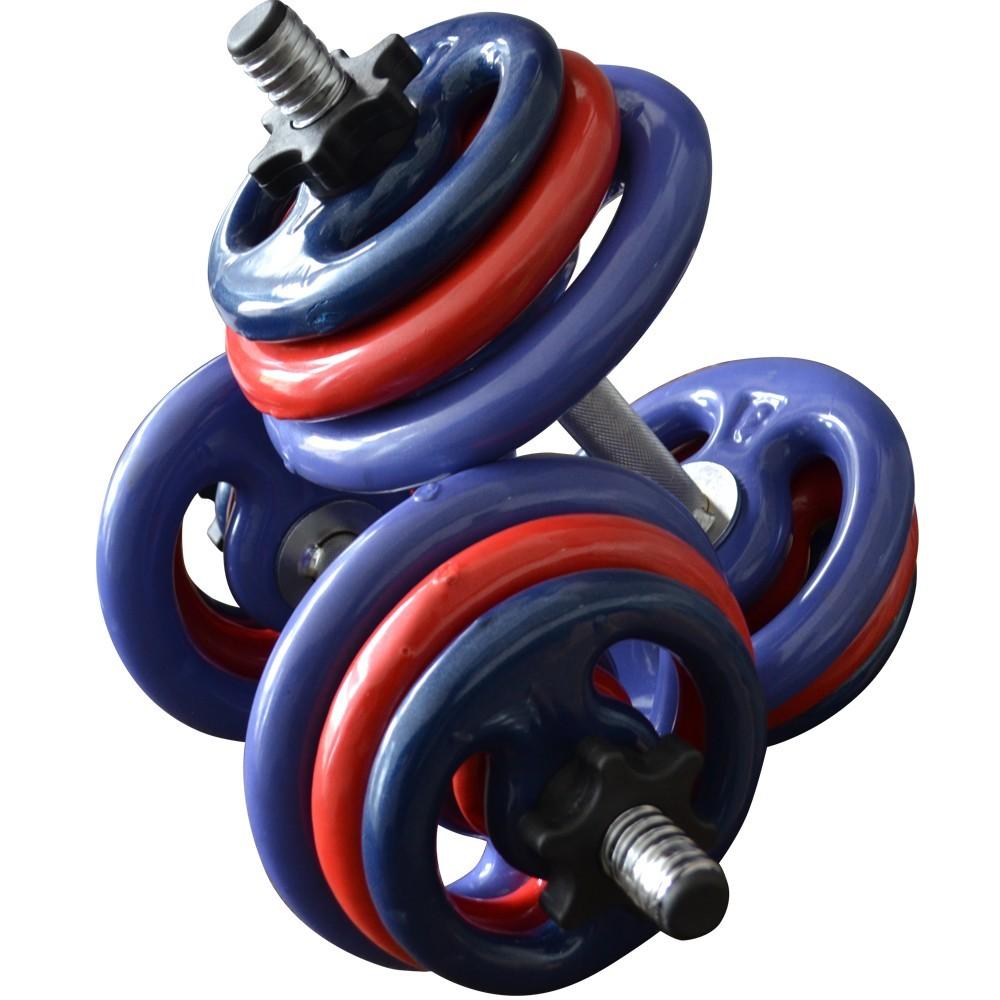 Foto8 - 2 Barras / Halteres ocas Rosca Rápida + 24kg de Pesos / Anilhas para Musculação - Novidade  Halteres e Anilhas