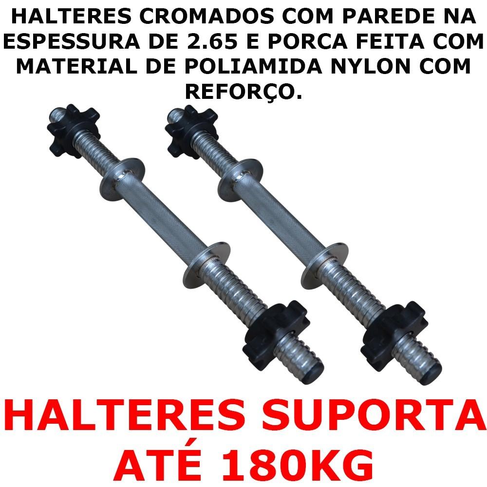 Foto3 - 2 Barras / Halteres ocas Rosca Rápida + 24kg de Pesos / Anilhas para Musculação - Novidade  Halteres e Anilhas