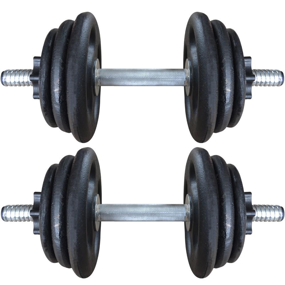 Foto5 - 2 Barras / Halteres ocas Rosca Rápida + 24kg de Pesos / Anilhas para Musculação - Novidade  Halteres e Anilhas