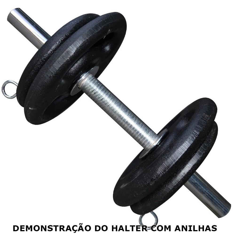 Foto2 - Barra / Halter de 40cm Maciça Cromada c/ Presilhas e Recartilho para colocação de Pesos ou Anilhas - Halteres e Anilhas