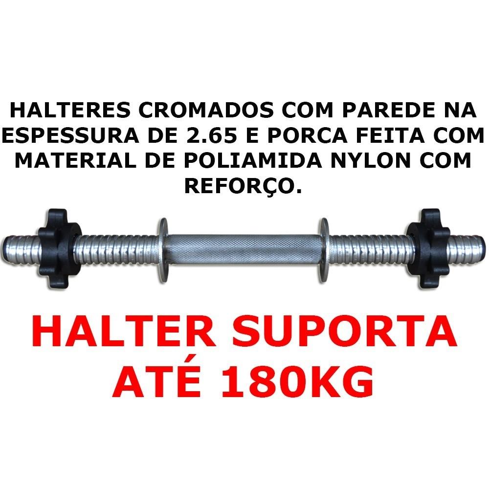 Foto3 - Halter / Barra de 40cm com Sistema Prático de Rosca para Anilhas. Melhor Barra - Halteres e Anilhas
