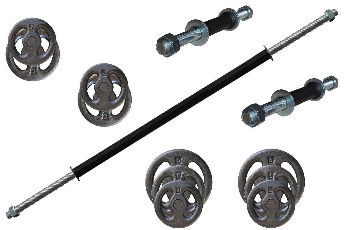 Foto6 - Kit 30Kg de Anilhas + Barras de 1,20cm e 2 de 33cm Maciças Rosqueadas + para se Treinar. Menor Preço | Halteres e Anilhas