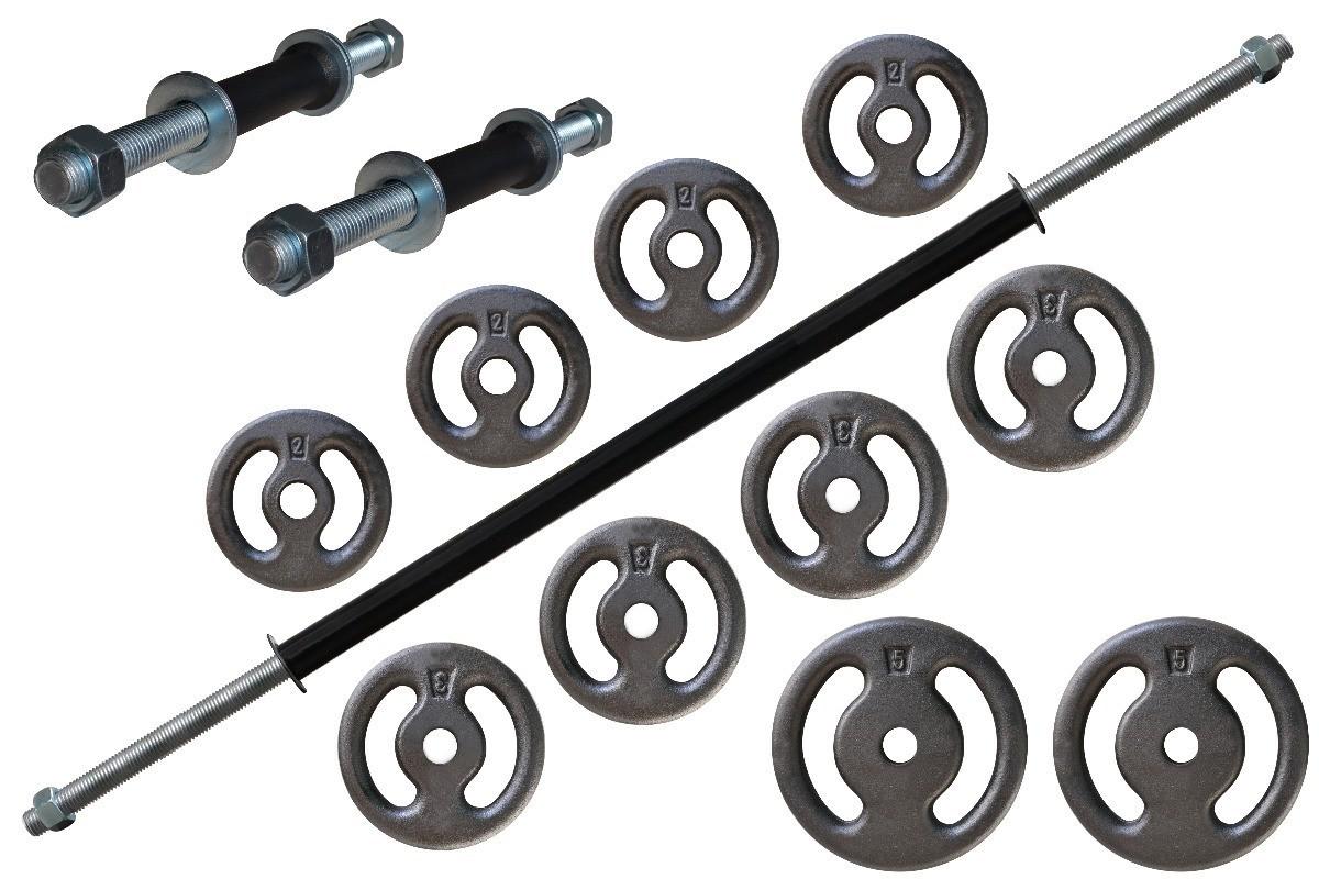 Foto 1 - Kit 30Kg de Anilhas + Barras de 1,20cm e 2 de 33cm Maciças Rosqueadas + para se Treinar. Menor Preço | Halteres e Anilhas