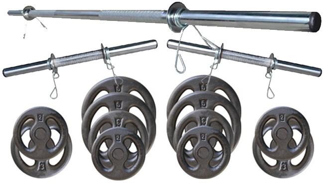 Foto 1 - Kit 40Kg Anilhas + Halteres / Barras de 1,20cm e 2 de 40cm ocas Cromadas c/ Recartilho. Melhor Kit para Musculação   Halteres e Anilhas