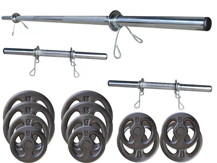 Foto7 - Kit 40Kg Anilhas + Halteres / Barras de 1,20cm e 2 de 40cm ocas Cromadas c/ Recartilho. Melhor Kit para Musculação   Halteres e Anilhas