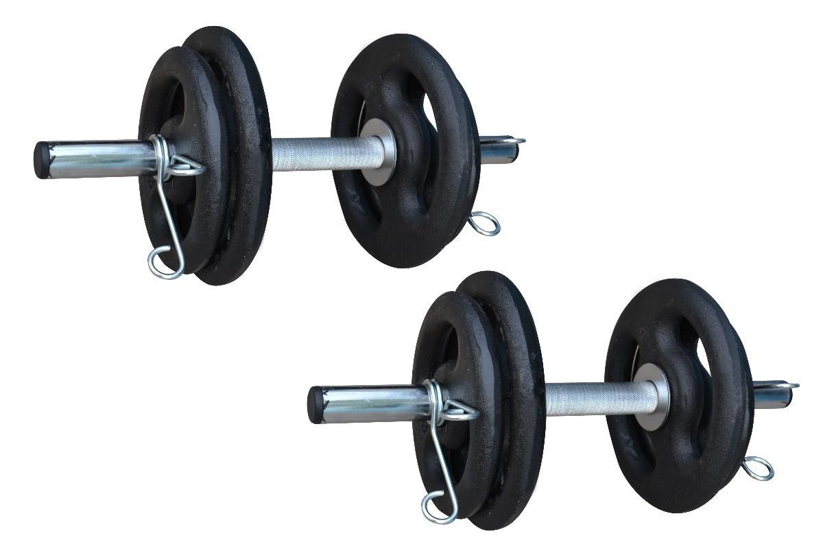 Foto6 - Kit 40Kg Anilhas + Halteres / Barras de 1,20cm e 2 de 40cm ocas Cromadas c/ Recartilho. Melhor Kit para Musculação   Halteres e Anilhas