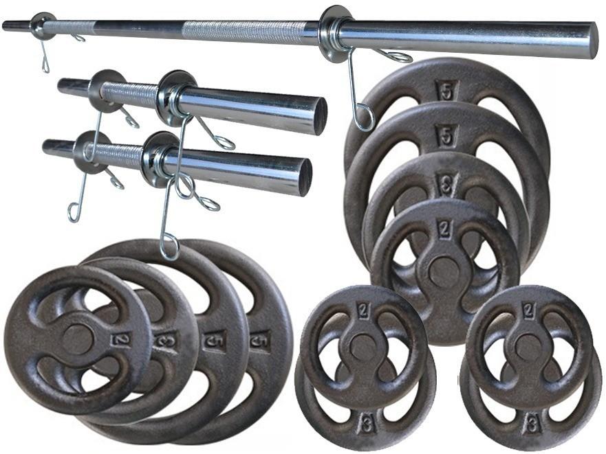 Foto 1 - Kit 40Kg de Anilhas + Barras de 1,20cm e 2 de 40cm Maciças. Menor Preço | Halteres e Anilhas