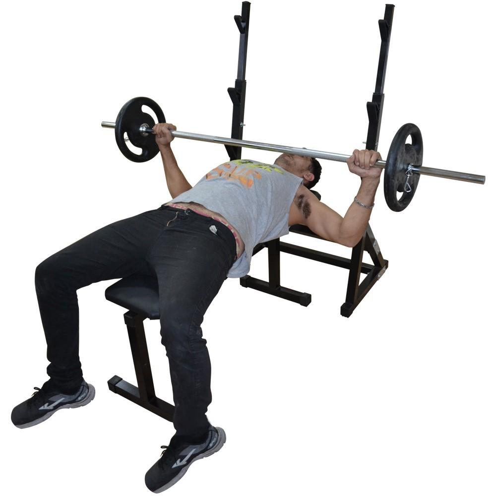 Foto2 - Kit Suporte Cavalete Supino, Bíceps com Barras, 40kg De Anilhas E Banco Livre - Halteres e Anilhas