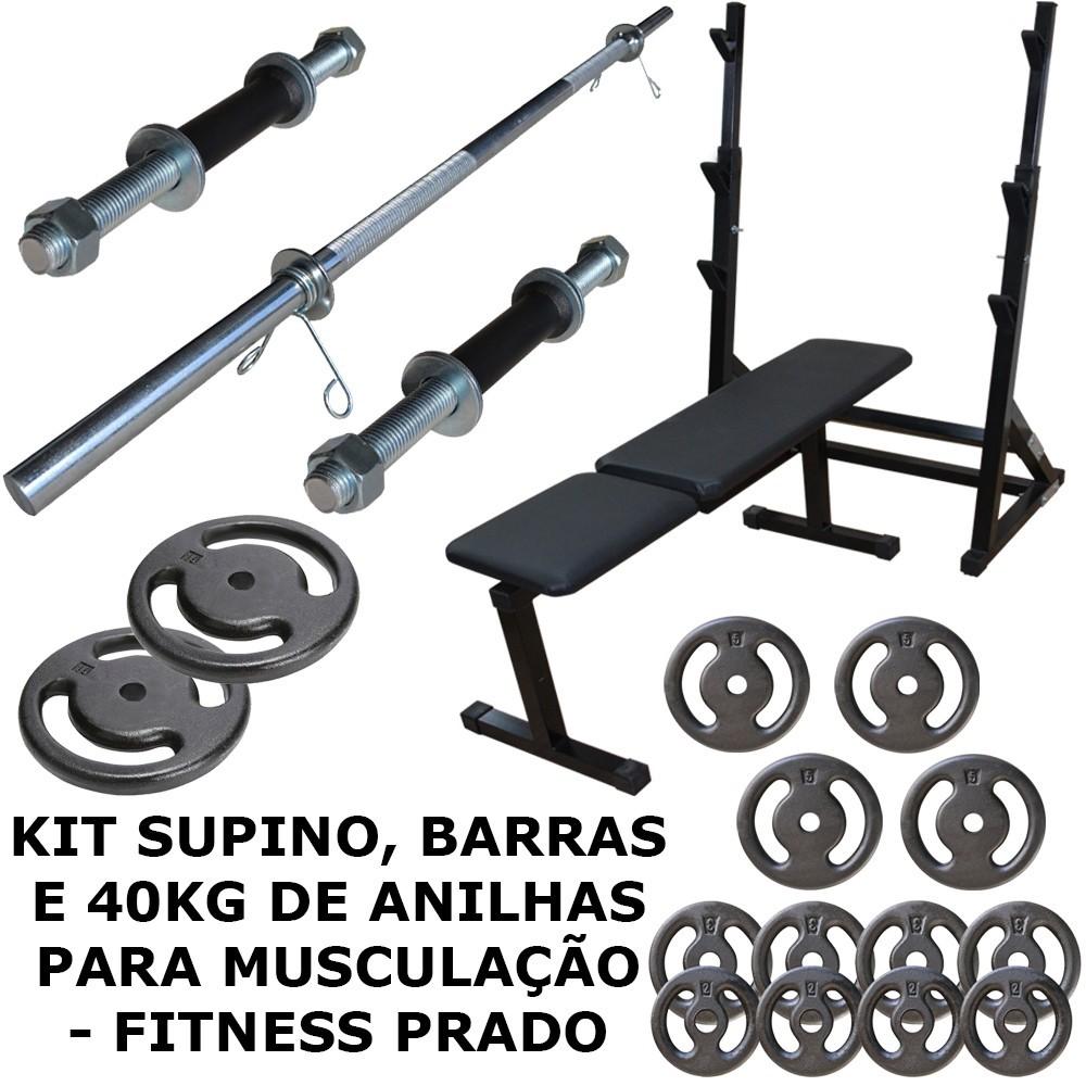 Foto 1 - Kit Suporte Cavalete Supino, Bíceps com Barras, 40kg De Anilhas E Banco Livre - Halteres e Anilhas