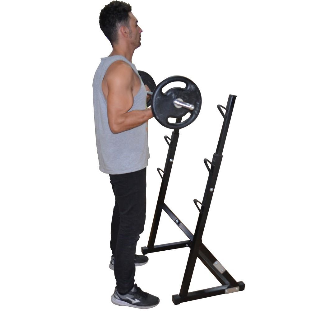 Foto5 - Kit Suporte Cavalete Supino, Bíceps com Barras, 40kg De Anilhas E Banco Livre - Halteres e Anilhas