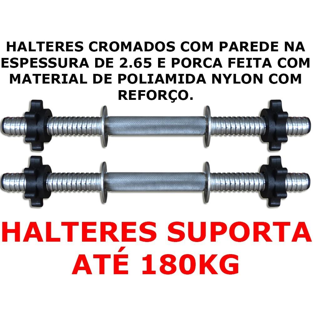 Foto2 - Par de Halter / Barra de 40cm com Sistema Prático de Rosca para Anilhas. Melhor Barra - Halteres e  Anilhas