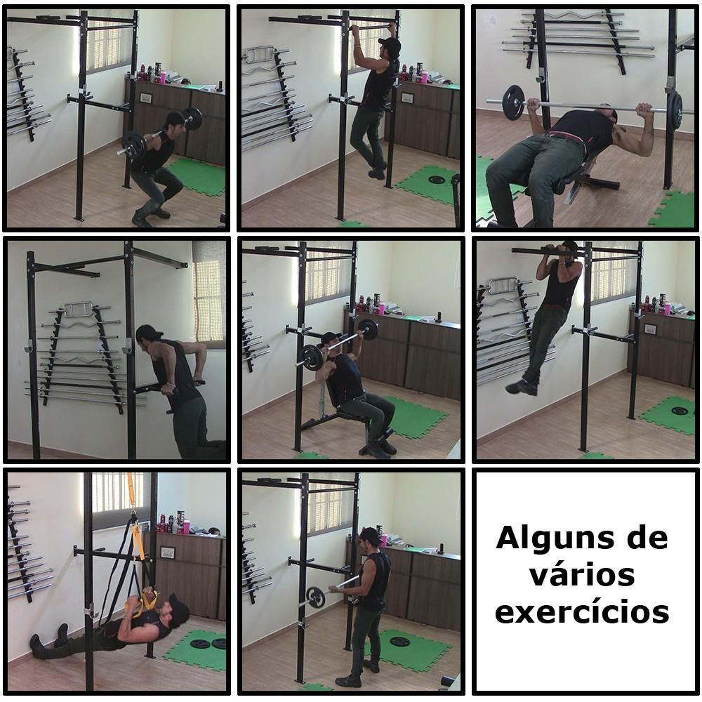 Foto2 - Power Rack Para Musculação / Crossfit Agachamento Supino Fixa E Paralela. Excelente para seus Treinos. Menor Preço   Halteres e Anilhas