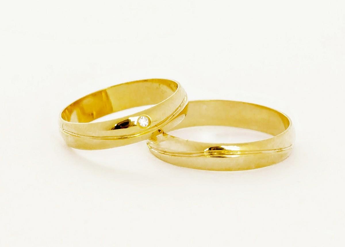 Foto 1 - Aliança de Casamento em Ouro 18K (5,4g 4,1mm)