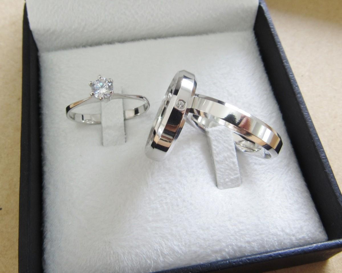 Foto 1 - Alianças em Prata 950 Rafaela (7g 4mm) com anel solitário