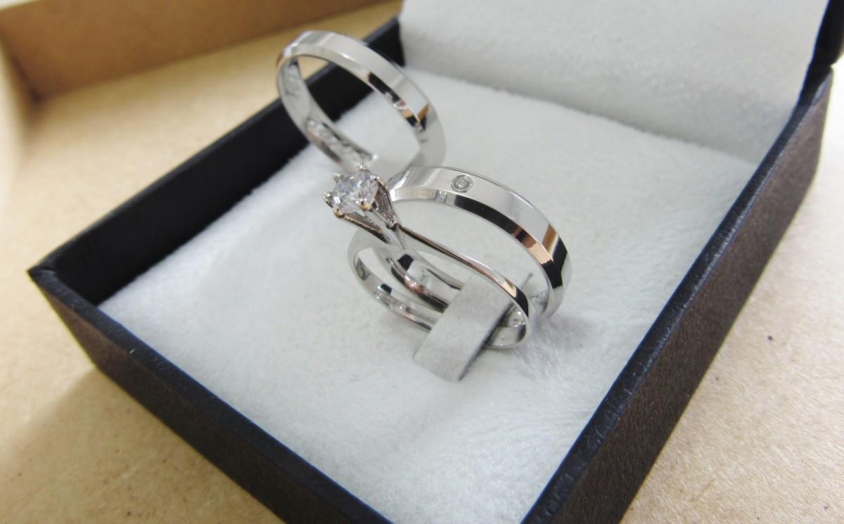Foto3 - Alianças em Prata 950 Rafaela (7g 4mm) com anel solitário