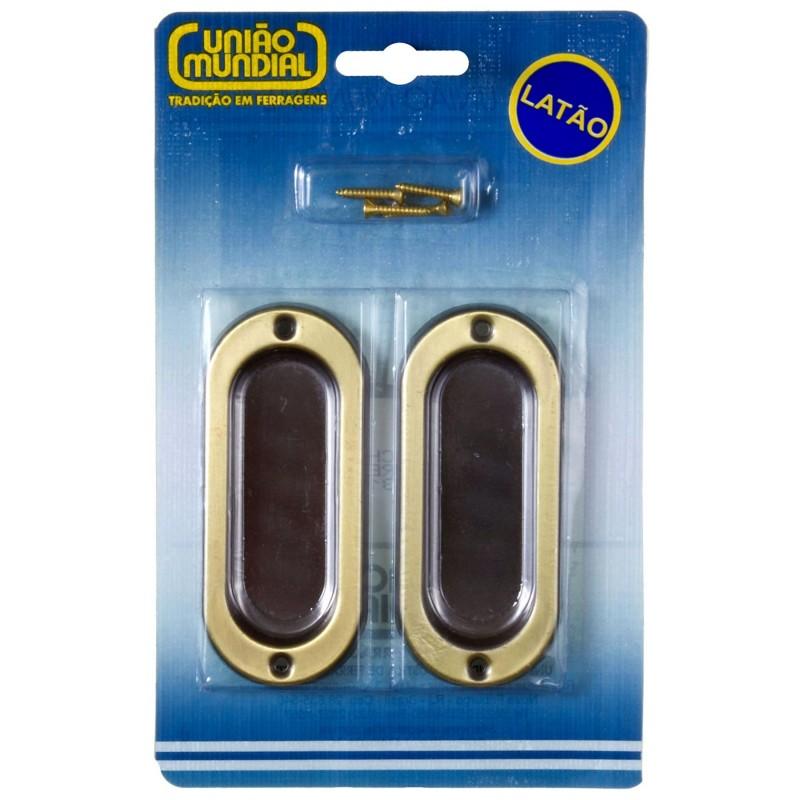 Foto3 - Concha para Janelas Latão Oxidado Dourado 100x40mm União Mundial