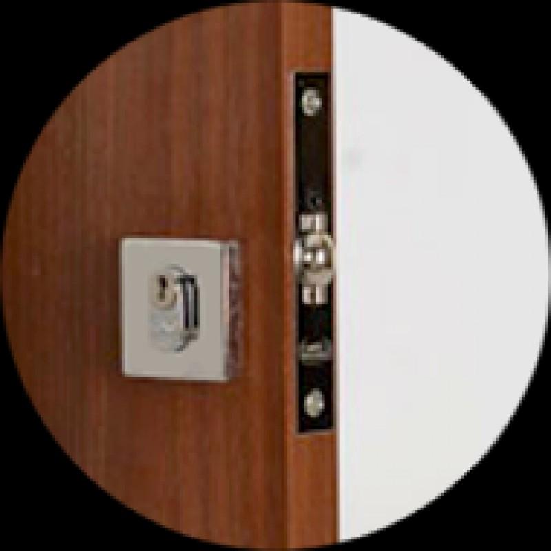 Foto 1 - Fechadura para Porta Pivotante União Mundial Roseta Quadrada Inox - 001E0410