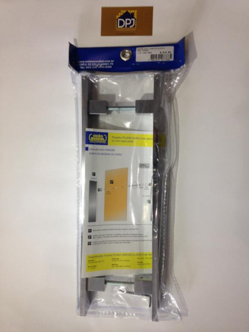 Foto4 - Puxador Para Porta Duplo Plano em Aluminio Cromado