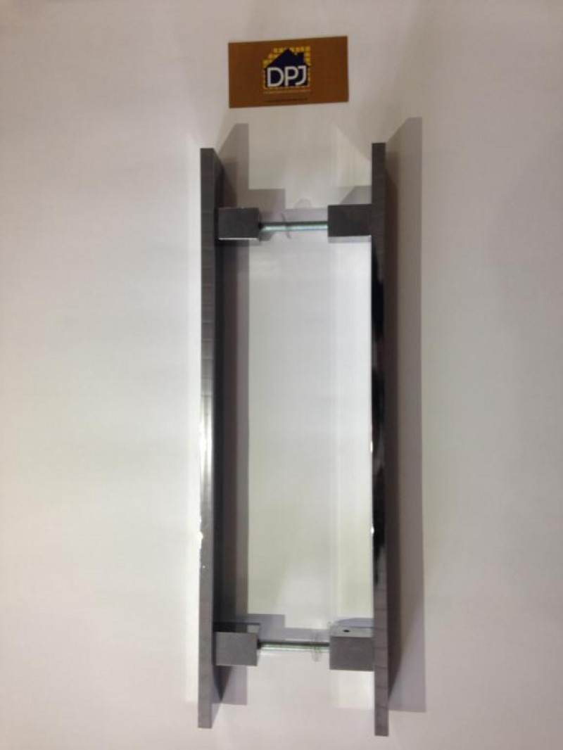 Foto5 - Puxador Para Porta Duplo Plano em Aluminio Cromado