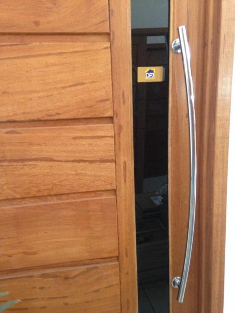 Foto3 - Puxador Para Porta Duplo Tubular Lateral Curvo em Aluminio Cromado