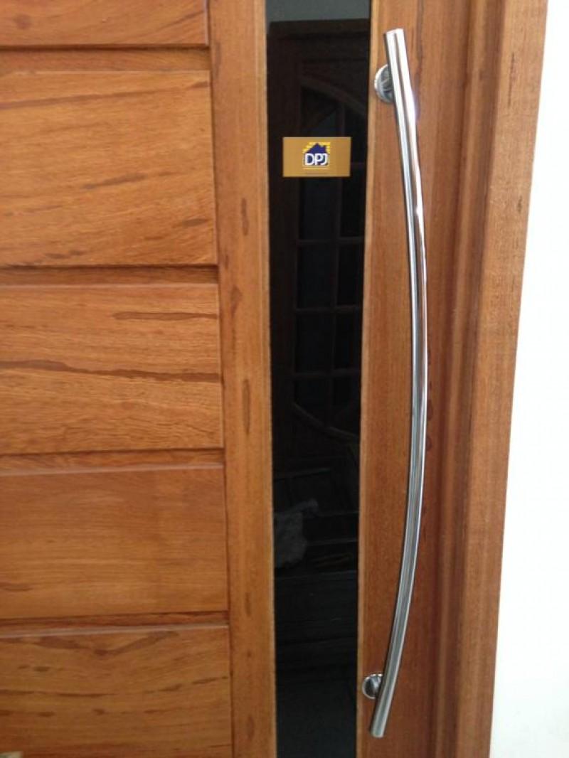 Foto4 - Puxador Para Porta Duplo Tubular Lateral Curvo em Aluminio Cromado