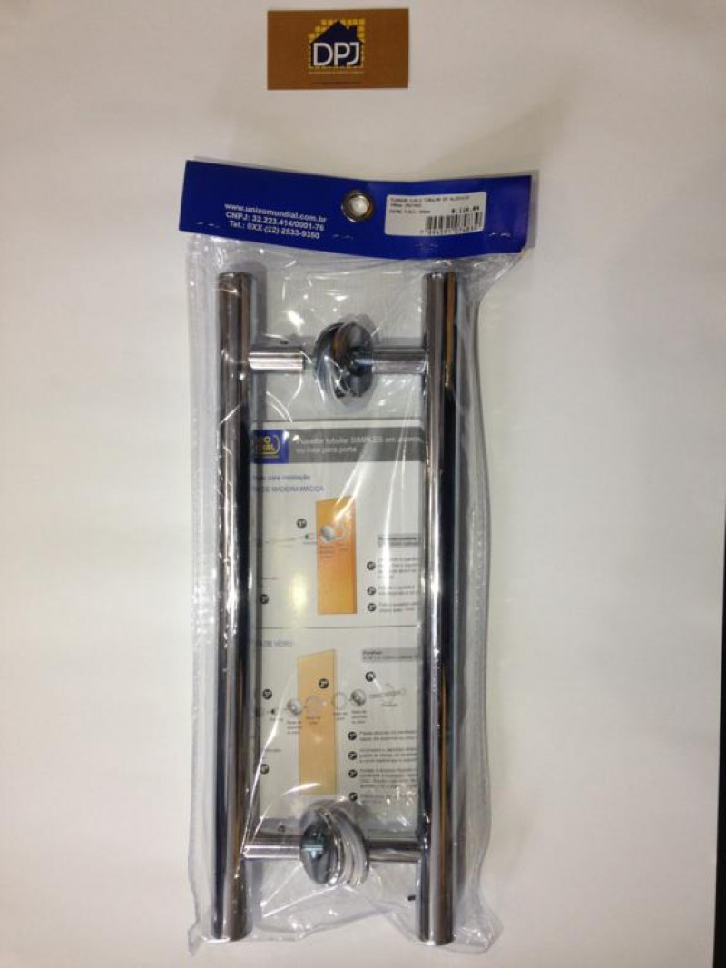 Foto6 - Puxador Para Porta Duplo Tubular em Aluminio Cromado