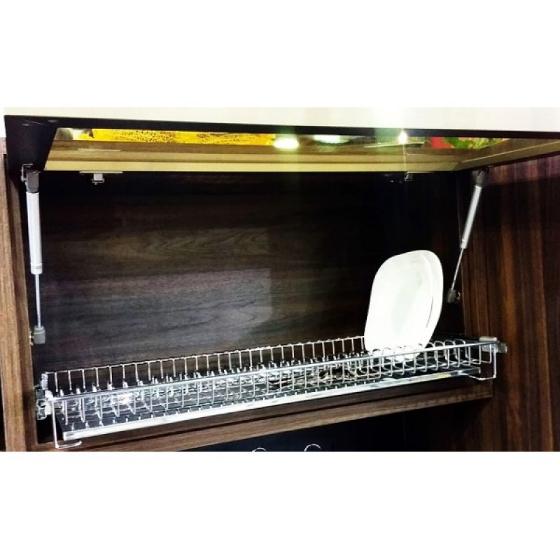 Foto 1 - escorredor de embutir cromado com bandeja inox e trilhos 8740