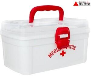 Caixa Organizadora com Alça para medicamentos e Primeiros Socorros