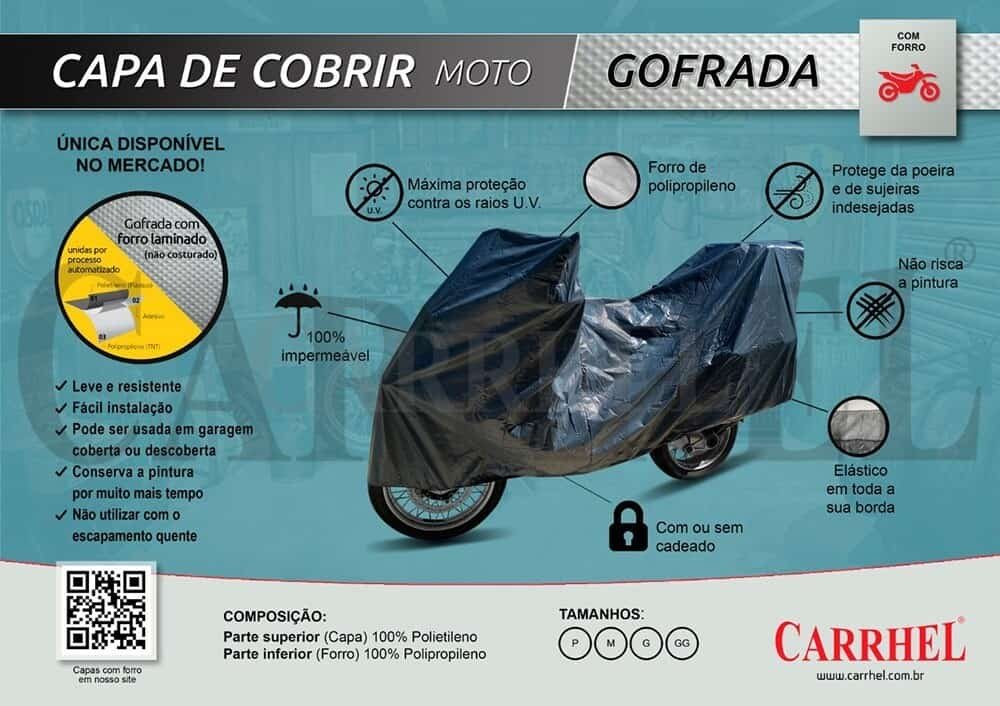 Foto 1 - CAPA PARA COBRIR MOTO CARRHEL FORRO GOFRADO
