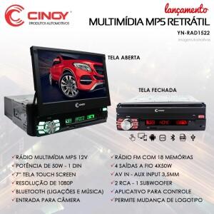 CENTRAL MULTIMÍDIA RETRÁTIL MP5 RÁDIO BLUETOOTH CINOY YN-RAD1522
